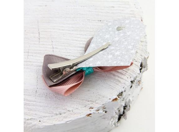 MOA róż i szarość - spinka z kokardą